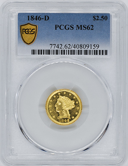 Picture of 1846-D LIBERTY HEAD $2.5 MS62