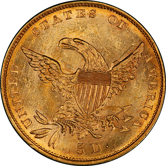 Picture of 1834 CLASSIC HEAD $5, CLASSIC-CROSS 4 MS63+