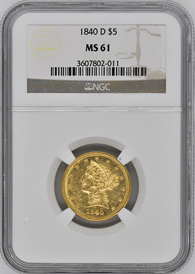 Picture of 1840-D LIBERTY $5, TALL D MS61