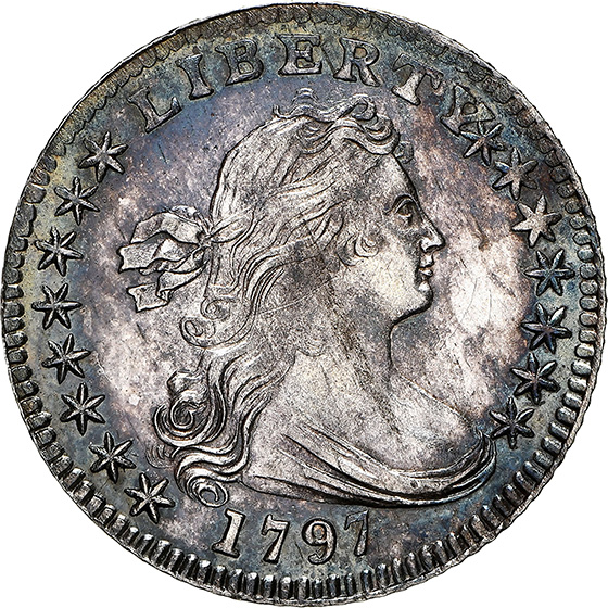 Picture of 1797 DRAPED BUST H10C, 15 STARS MS62
