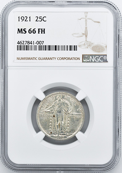 Picture of 1921 STANDING LIBERTY 25C MS66 Full Head