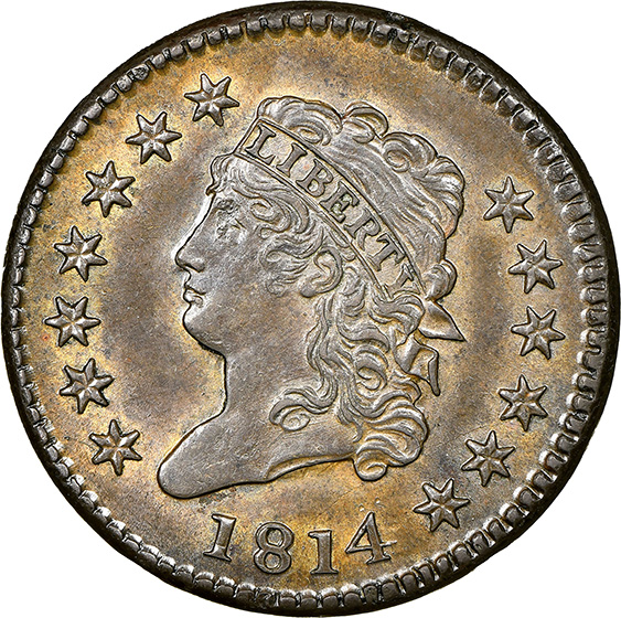 Picture of 1814 CLASSIC HEAD 1C, PLAIN 4 MS63 Brown