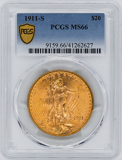Picture of 1911-S ST. GAUDENS $20 MS66