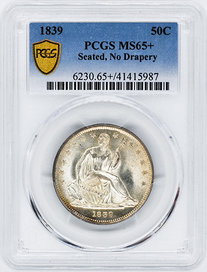 Picture of 1839 LIBERTY SEATED 50C, NO DRAPERY MS65+