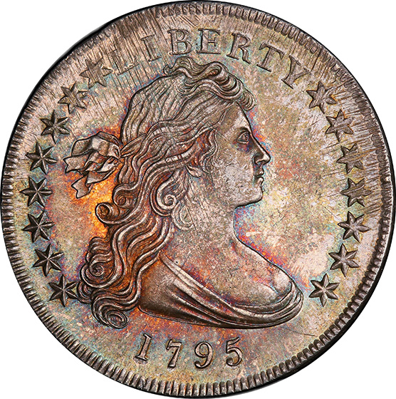 Picture of 1795 DRAPED BUST $1, OFF-CENTER BUST MS64+