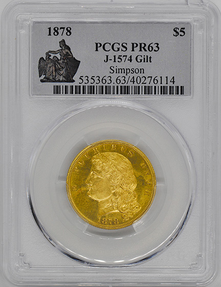 Picture of 1878 $5 GILT J-1574 PR63