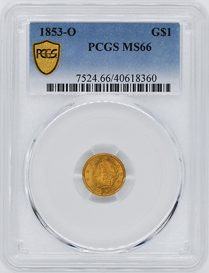 Picture of 1853-O GOLD G$1, TYPE 1 MS66