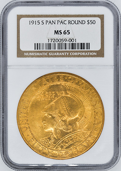 Picture of 1915-S GOLD $50, PAN-PAC ROUND MS65