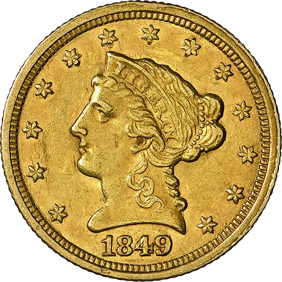 Picture of 1849-C LIBERTY HEAD $2.5 MS61+