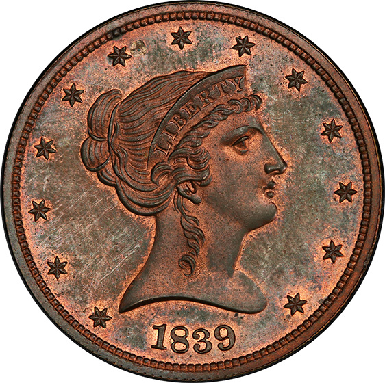 Picture of 1839 LIBERTY 50C J-98, RESTRIKE PR66 Red Brown