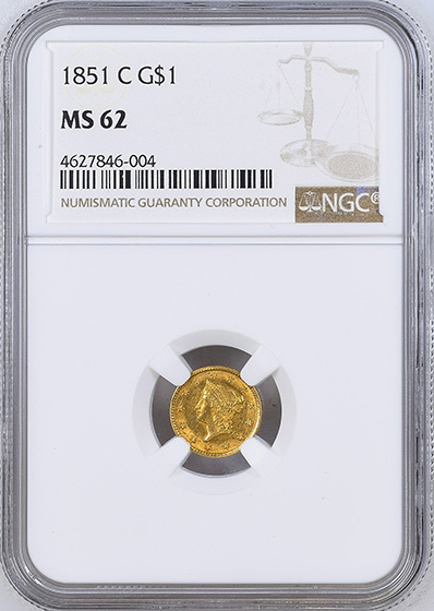 Picture of 1851-C GOLD G$1, TYPE 1 MS62