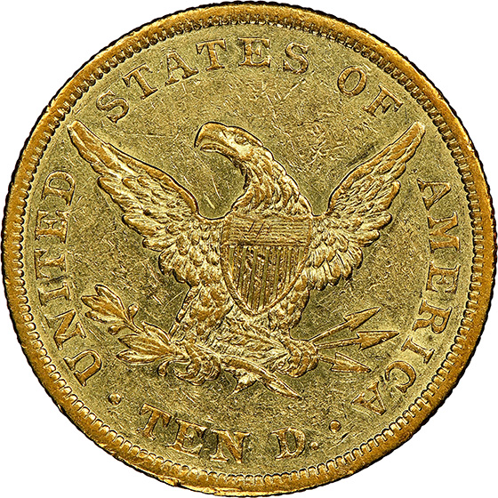 Picture of 1839 LIBERTY HEAD $10, TYPE OF 1838 AU58
