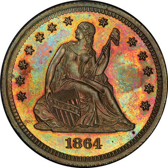 Picture of 1864 SEATED 25C J-385 PR66 Brown