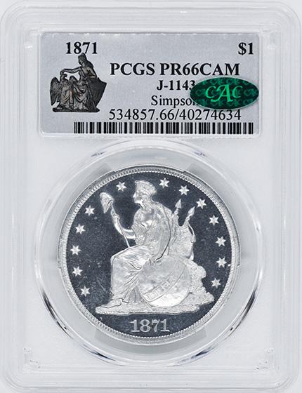 Picture of 1871 LONGACRE $1 J-1143 PR66 Cameo
