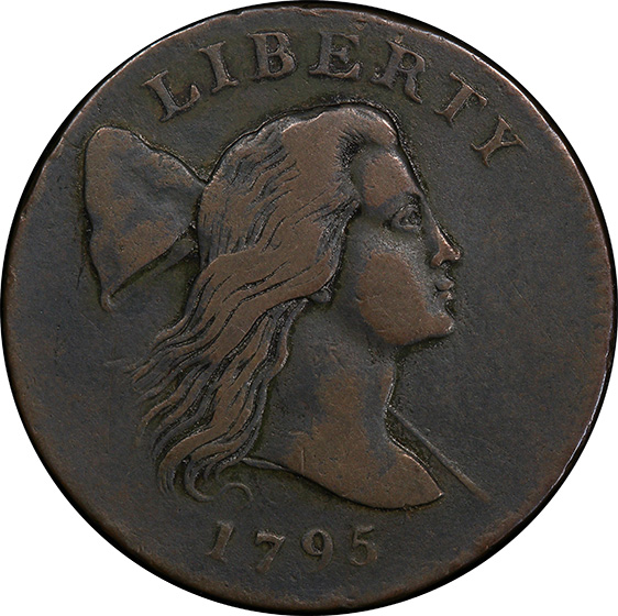 Picture of 1795 FLOWING HAIR LARGE 1C, JEFF, PLAIN EDGE VF30 Brown