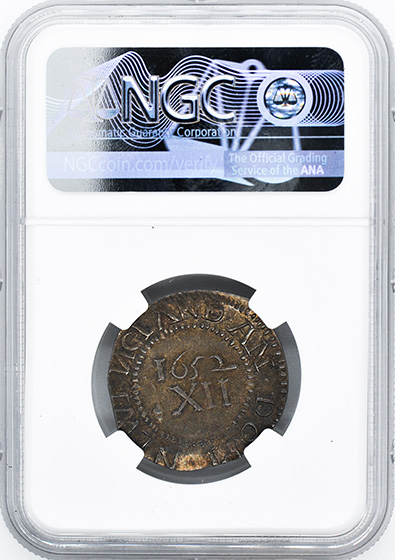 Picture of 1652 PINE TREE SHILLING, LARGE PL, REVERSED N MS65