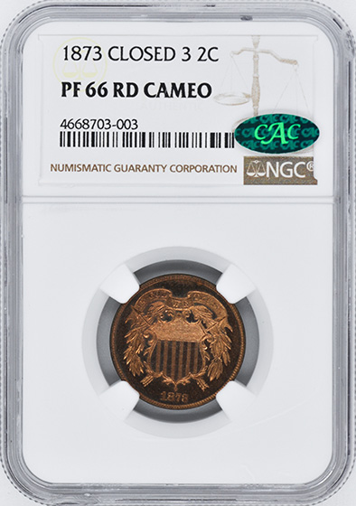 Picture of 1873 2C, CLOSED 3 PR66 Cameo