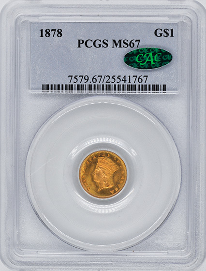 Picture of 1878 GOLD G$1, TYPE 3 MS67