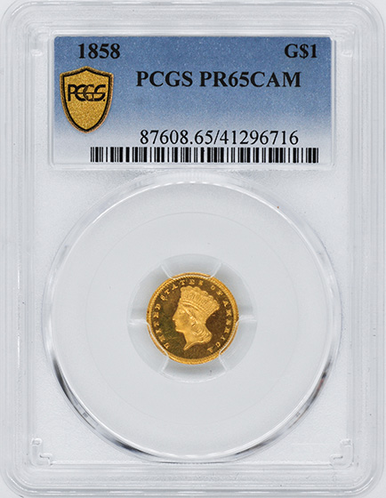 Picture of 1858 GOLD G$1, TYPE 3 PR65 Cameo