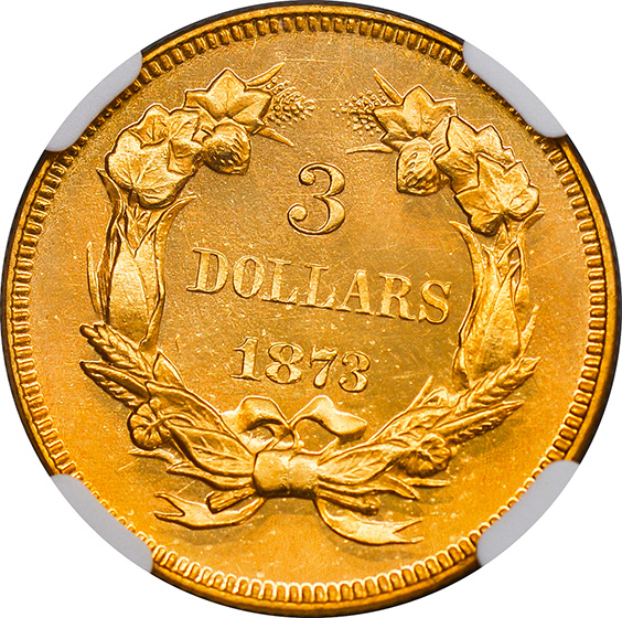 Picture of 1873 INDIAN PRINCESS $3, OPEN 3 PR65 Deep Cameo