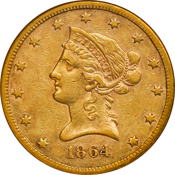 Picture of 1864-S LIBERTY $10 XF45+