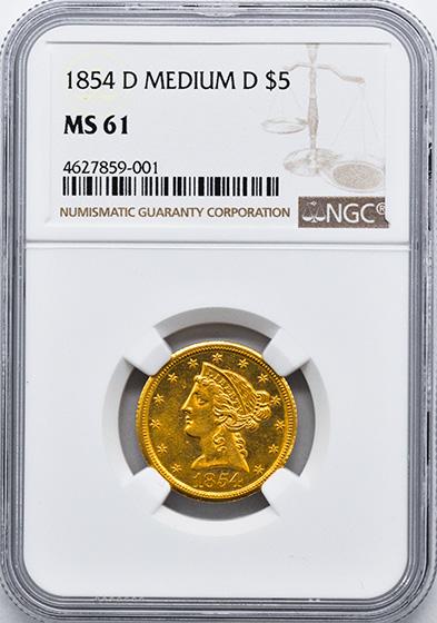 Picture of 1854-D LIBERTY $5, MEDIUM D MS61
