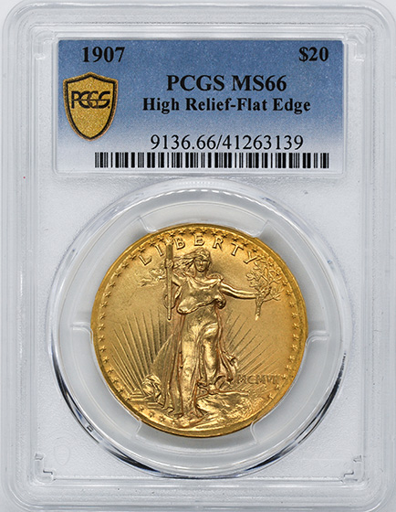 Picture of 1907 ST. GAUDENS $20, HIGH RELIEF-FLAT EDGE MS66