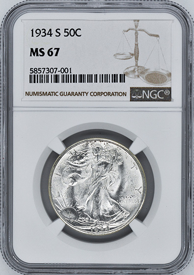 Picture of 1934-S WALKING LIBERTY 50C MS67