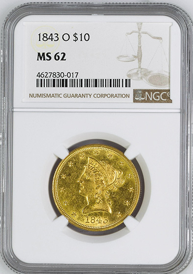 Picture of 1843-O LIBERTY HEAD $10 MS62