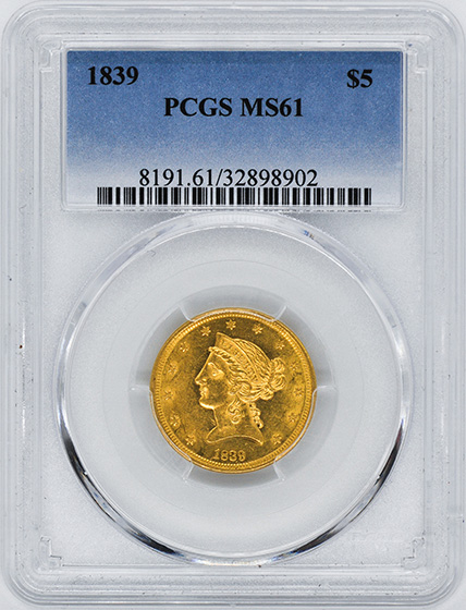 Picture of 1839 LIBERTY $5 MS61