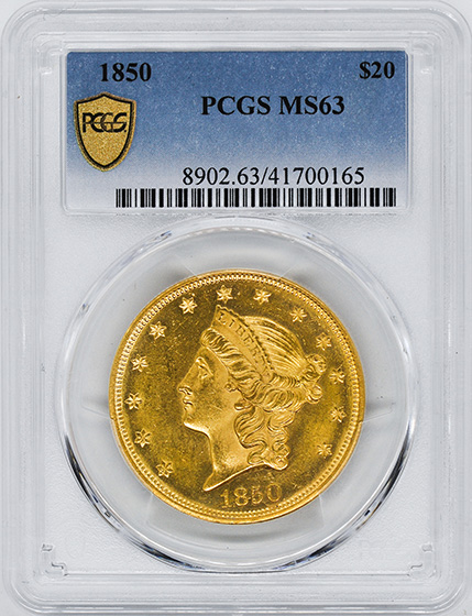 Picture of 1850 LIBERTY HEAD $20 MS63