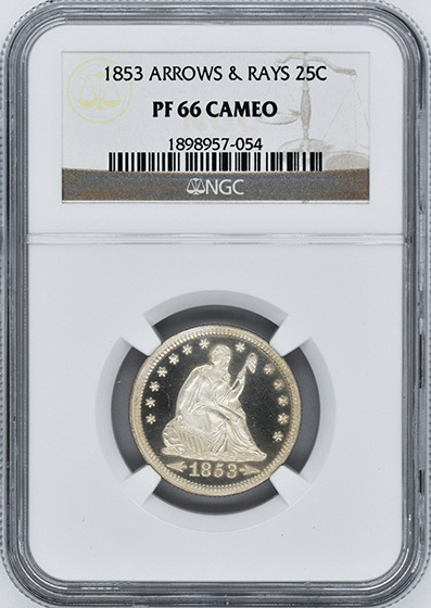 Picture of 1853 LIBERTY SEATED 25C, ARROWS AND RAYS PR66 Cameo