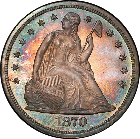 Picture of 1870 LIBERTY SEATED S$1, MOTTO PR66