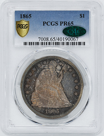 Picture of 1865 LIBERTY SEATED S$1, NO MOTTO PR65