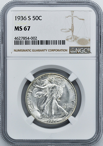 Picture of 1936-S WALKING LIBERTY 50C MS67