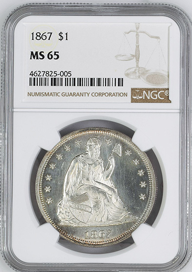 Picture of 1867 LIBERTY SEATED S$1, MOTTO MS65