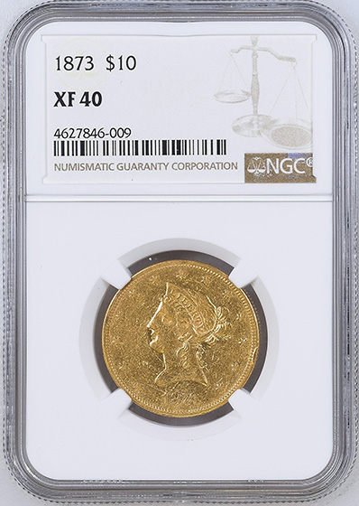 Picture of 1873 LIBERTY HEAD $10, CLOSED 3 XF40