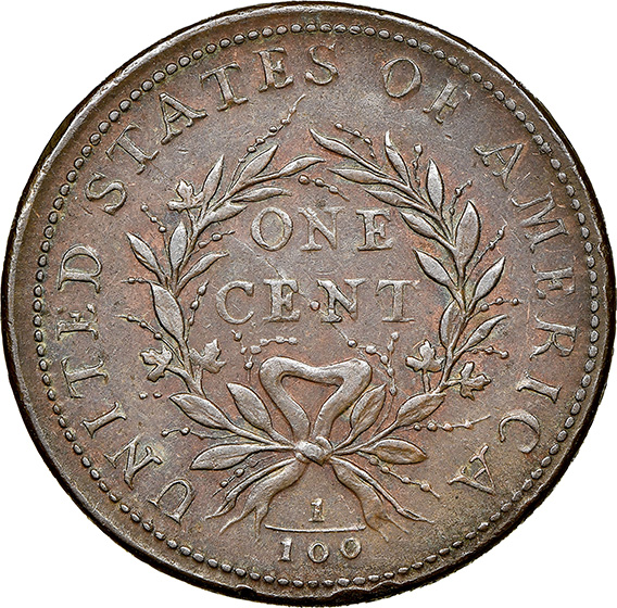 Picture of 1793 WREATH 1C, VINE AND BARS EDGE AU58 Brown