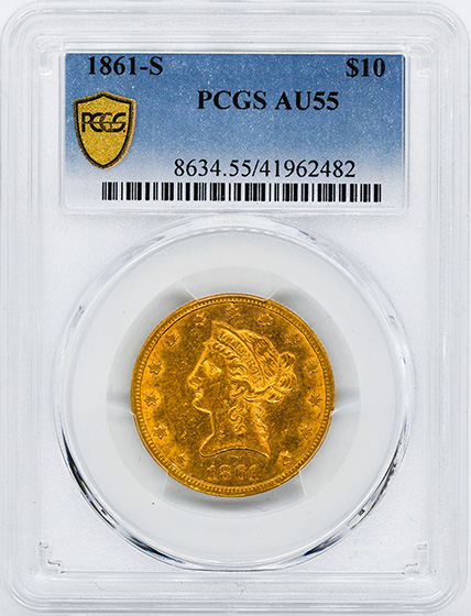 Picture of 1861-S LIBERTY HEAD $10 AU55