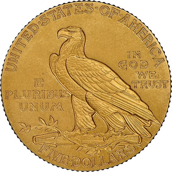 Picture of 1915 INDIAN HEAD $5 PR66