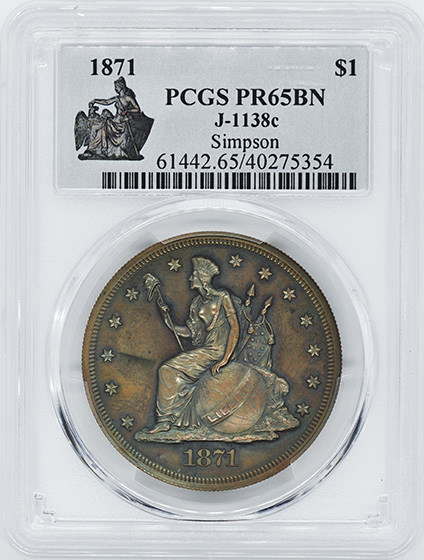 Picture of 1871 S$1 J-1138C PR65 Brown