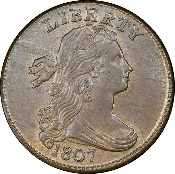 Picture of 1807 DRAPED BUST 1C, S-271 COMET MS64 Brown