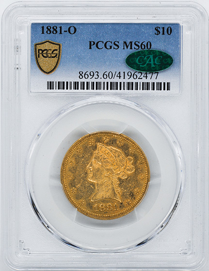 Picture of 1881-O LIBERTY HEAD $10 MS60
