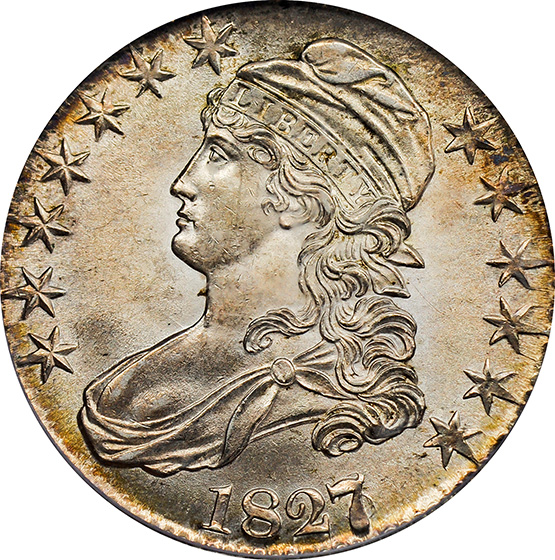 Picture of 1827/6 CAPPED BUST 50C MS64+