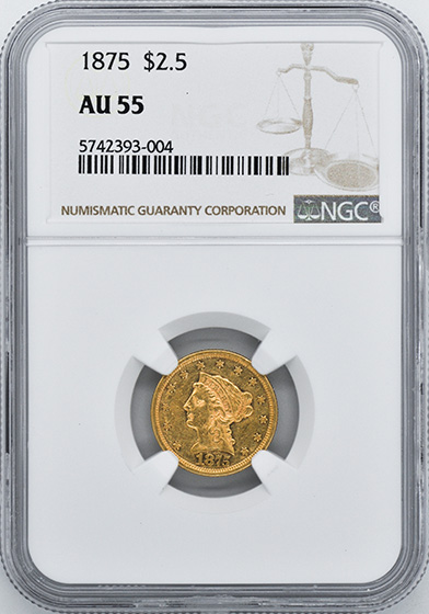 Picture of 1875 LIBERTY HEAD $2.5 AU55
