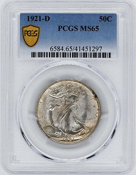 Picture of 1921-D WALKING LIBERTY 50C MS65