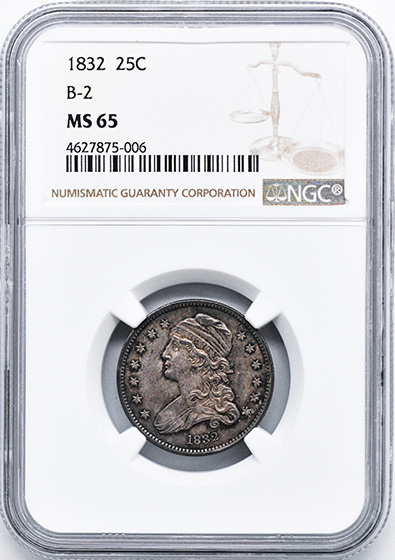 Picture of 1832 CAPPED BUST 25C MS65