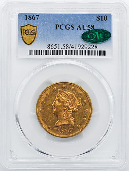 Picture of 1867 LIBERTY HEAD $10 AU58