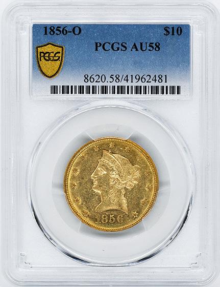 Picture of 1856-O LIBERTY HEAD $10 AU58