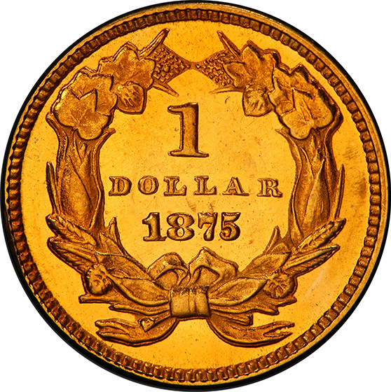 Picture of 1875 GOLD $1 MS64 Proof Like
